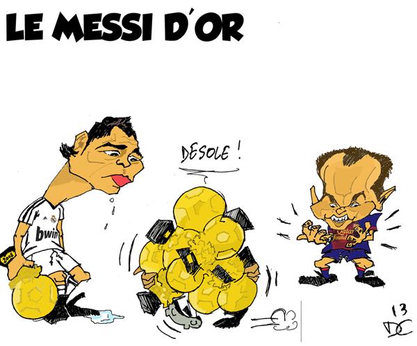 Dessin De Footballeur dessin : un lionel messi en or  - football - maxifoot
